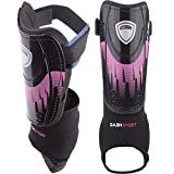 DashSport Soccer Shin Guards -Youth Sizes Best Kids Soccer Equipment with Ankle Sleeves - Great for Boys and...
