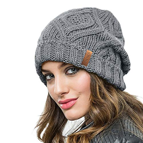 TIENCIY Unique Design Winter Knit Hat Warm Chunky Cable Knit Beanie Hat for Womens Girls Warm Knit Beanie Hat