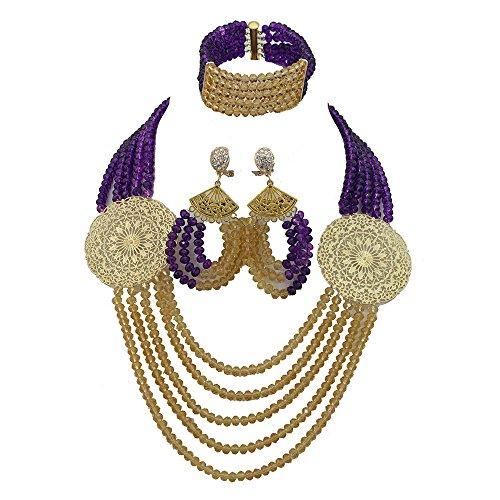 Africanbeads 5Rows Purple and Gold African Wedding Jewelry Set,Crystal Beads Necklace Jewelry Set