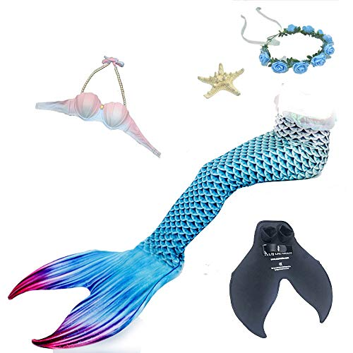 YIAIY Erwachsenen Meerjungfrau Badeanzug, Hochwertige Meerjungfrau Schwanz Split Weiblichen Badeanzug Schwimmflossen Für Strand/Pool/Party,Blue,S