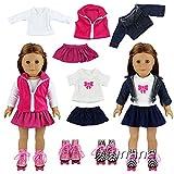 Miunana 2X Vestidos + 2 Pares Patines Accesorios como Regalo para 18 Pulgadas Muñeca 46 cm American Girl Doll (NO INCLUYE MUÑECA)