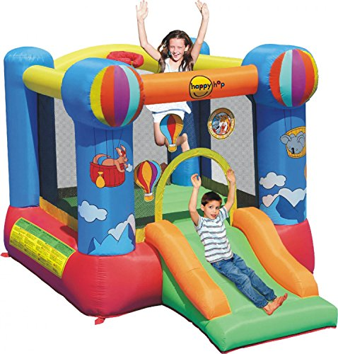 Duplay Hot Air Balloon Kids Bouncy Castle with Slide and Basketball Hoop
