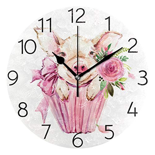 MOYYO Animal Cute Pig Watercolor Flower Wall Clock Acrylic Silent Round Wall Clock Battery Operated Creative Decorative Clock for Kids Living Room Bedroom Office Kitchen Home Decor