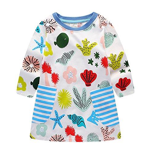 Kids Toddler Baby Girl Colourful Sea World Cartoon Print Long Sleeve Fall Dress,6T/130cm,7#corlorfulseeworld