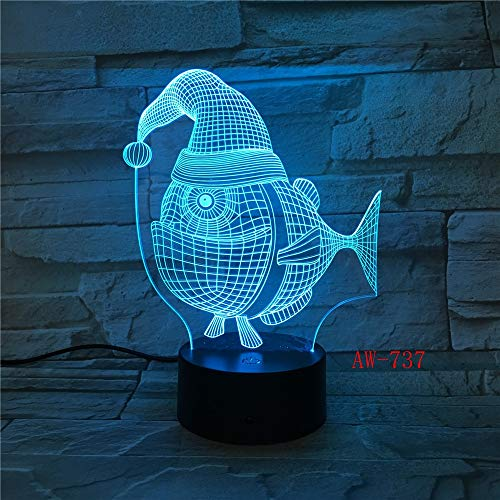 Nndxh Nachttischlampe, 7 Farben, leuchtendes 3D-LED-Licht, USB-Nachttisch, Baby-Schlaf, Weihnachtsmütze, Fischform, Nachtlicht für Kinder, Geschenk, Tischlampe