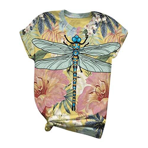 Ziyou Damen T-Shirts Sommer lose Kurzarm runden Ausschnitt Lustige 3D-Cartoon Bunte Kuh Katze Esel Tier Bedruckte Blusen Komfortable Grafik T-Shirts Tunika T-Shirt(5XL, H-Mehrfarbig)