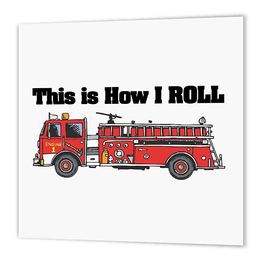 3dRose ht_102607_1 This is How I Roll Fire Truck Firemen Design Iron on Heat Transfer Paper for White Material, 8 by 8