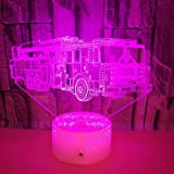 XKALXO 3D Night Light Led Fire Engine Modelling Illusion Night Light 16 Color Remote Touch Control Animal Acrylic Atmosphere Home Decration Lamp Gift Children