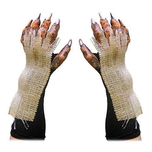 Harvest Beast Orange & Burlap Pumpkin Gloves Adult Costume Hands