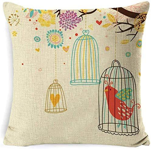 Conjunto de giyiohok de 4 Cubiertas de Cojines Decorativos para sofá Cama - 45 x 45 cm - Patrón de Hojas Tropicales - algodón y Lin-Vuela Libre