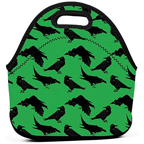 Geïsoleerde Neopreen Thermische Herbruikbare Kraaien Groene Lunch Bag Kids Zachte Draagbare Bento Pouch Lunch Tote Voedsel Container Perfect voor Werk School Picknick