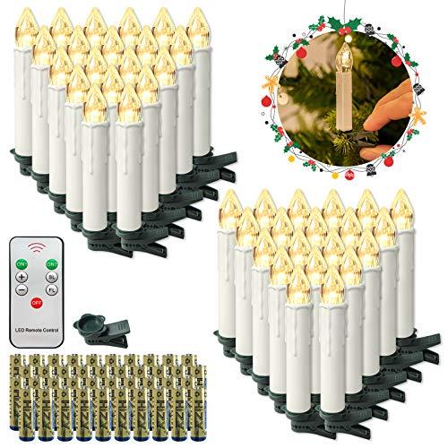 HENGMEI 40 Stück LED Kerzen Weihnachtskerzen Kabellos Warmweiß mit Fernbedienung Christbaumkerzen Weihnachtsbaum Kerzen Kerzenlichter Weihnachts