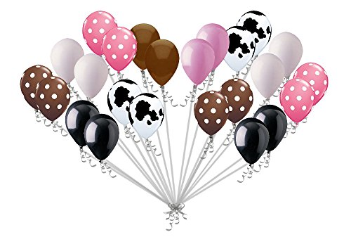 24 pc Cowgirl Inspired Polka Dot Latex Balloon Party Decoration Western Cow Girl