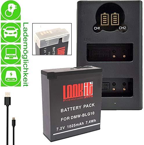 LOOKit Akku BLG10- echte 1025mAh + LOOKit Dual USB LCD Ladegerät für Panasonic Lumix DC TZ202 TZ96 GX9 DC-LX100 II - 100% dekodiert - mit Infochip
