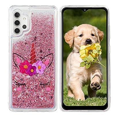 HopMore Glitter Funda para Samsung Galaxy A32 5G Purpurina Silicona Cover 3D Liquido Brillante Dibujos Transparente Carcasa Resistente Antigolpes Case Protección - Unicornio