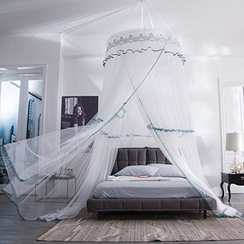 Lowest Price! White grey round fly screen,Ceiling floor mosquito net Princess bed canopy Dinner bed ...