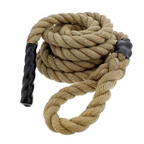 Get Out! Jute Exercise Rope, Fitness Rope for Indoor Climbing Rope Gym Rope Climbing – 1.5in x 15ft (Small)