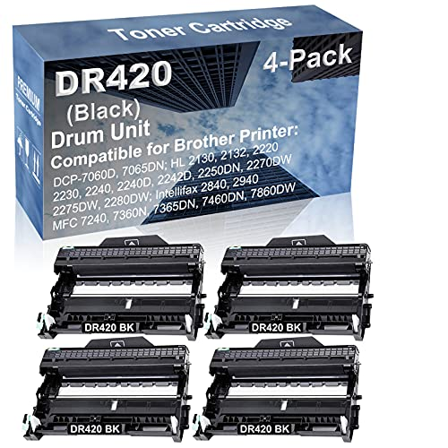 4-Pack Compatible Drum Unit (Black) Replacement for Brother DR420 DR-420 Drum Kit use for Brother Intellifax-2840, Intellifax-2940; MFC-7240, MFC-7360N, MFC-7365DN, MFC-7460DN, MFC-7860DW Printer