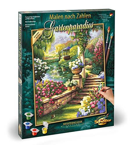 Schipper 609130379 - Malen nach Zahlen - Gartenparadies - Bilder malen für Erwachsene, inklusive Pinsel und Acrylfarben, 40 x 50 cm