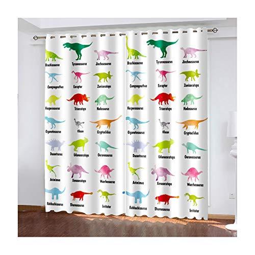 AMDXD 2 Paneles Cortina Salon Poliester, Cortinas 3D Salon Modernas Dinosaurios Cortinas Decorativas, Rojo Verde Azul Rosa Púrpura, 264cm (W) x 244cm (H)
