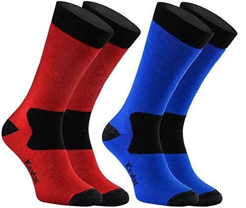 Rainbow Socks PRO - Damen Herren Antibakterielle Merino Wolle Kevlar Warme Trekkingsocken SKI - 2 Paar - Blau-Schwarz Rot-Schwarz - Größen EU 39-42