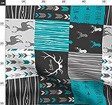 blau, petrol, grau, Hirsch, Junge, Wholecloth, Wholecloth