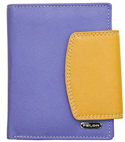 Felda - Cartera para Mujer - con Bloqueo de transmisiones RFID, Ranuras para Tarjetas y portamonedas - Cuero auténtico - Violeta/Multicolor