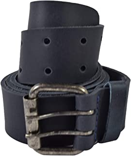 Rustic Leather Belt/Rustic Double Prong Buckle, (1.5 in.) Wide Handmade Includes 101 Year Warranty :: Slate Blue (Size 34)