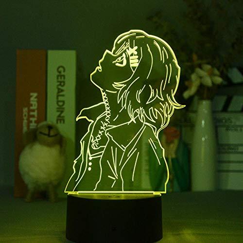 Juuzou Suzuya - Lámpara 3D de luz nocturna con diseño de anime Tokyo Ghoul Chouly Color Beauty Bluetooth regalo ideal para el dormitorio roto con mando a distancia.