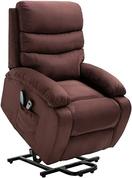 Homegear Microfiber Power Lift Electric Recliner Chair With Massage Heat And Vibration With Remote Brown