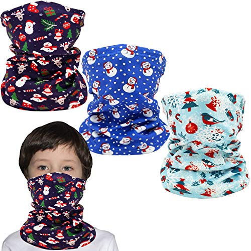 Kids Ski Mask Fleece Neck Gaiter Warmer Winter Face Cover Scarf Balaclava for Boys Girls (Christmas 3 PCS)