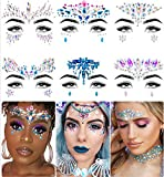 Face Jewels - Face Gems by iMethod, Mermaid Face Jewels Stick On, Rave Accessories for Festival Holiday Costumes & Makeup, 6 Pcs