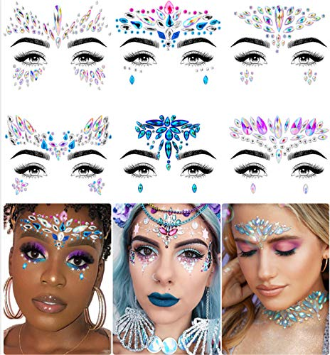 iMethod Face Jewels - Face Gems, Mermaid Face Jewels Stick On, Rave Accessories for Festival Holiday...