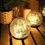 Viitech Solar Laternen Outdoor Rasen Lampe Gartenleuchten Solarlampe Pfostenleuchte Außen Deko Rissglas Kugel Wasserdicht Smart Lichtgesteuert 10cm
