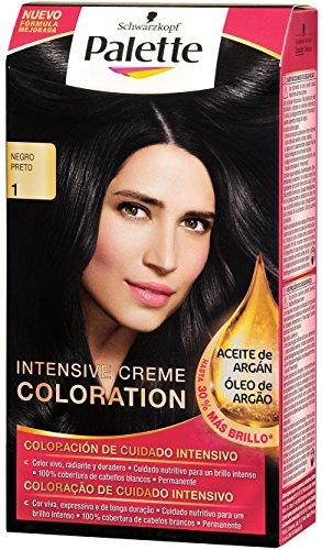 Palette Intense Cream Coloration Intensive Coloración del Cabello 1 Negro - Pack...