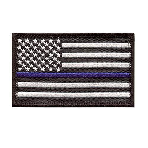 USA American Flag 2x3.25 Thin Blue Line Stars And Stripes Tactical Morale Touch Fastener cap Patch
