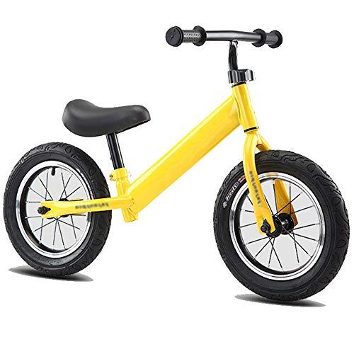 DREAMyun Bicicleta Sin Pedales para Niños 12 Pulgadas, Manillar Ajustable y Altura del Asiento sin Pedal Bicicleta de Equilibrio para Caminar para Niños de 2 a 6 Año,Amarillo