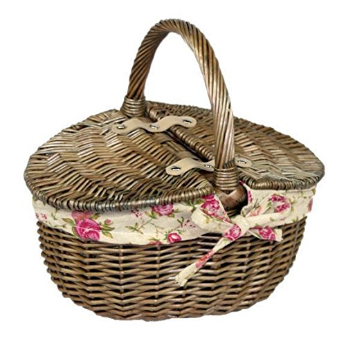 Red Hamper Antique Wash Double Lidded Oval Picnic Basket Garden Rose Lining, Wicker, Brown, 23 x 30 x 17 cm