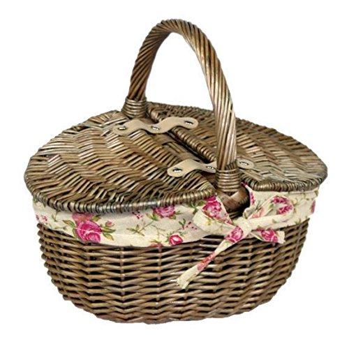Rojo Hamper Antiguo Wash Doble Lidded Oval Picnic Basket Jard/ín Rosa Forro peque/ño Color marr/ón