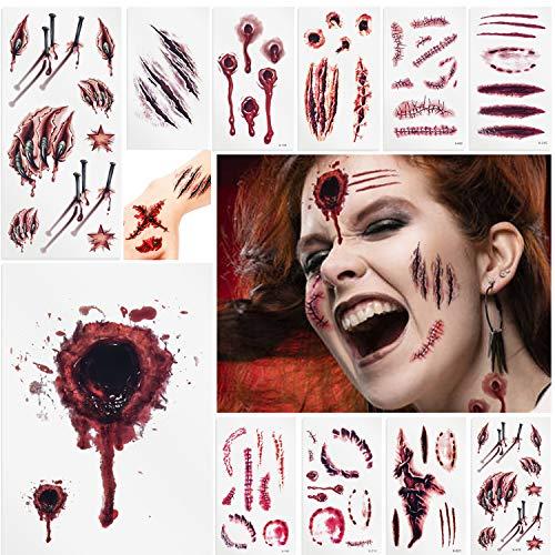 YALANLE Halloween Kostüme Zombie Tattoos-alloween Zombie Scars Tattoos Aufkleber mit gefälschten Scab Blut Spezial Fx Kostüm Makeup Stützen (11 Blatt)