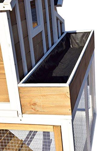 dobar 23033FSC Großer dekorativer Hühnerstall oder Kleintierstall XL mit Freigehege, Pflanzkasten und Legebox, 126 x 128 x 143 cm, weiß-braun-schwarz - 7
