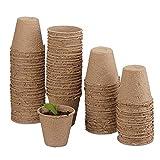 MMBOX, set di vasi da coltivazione, biodegradabili, per piante, 50 pezzi, in cellulosa, rotondi, 8 cm, beige, Beige, 8 x 8 cm