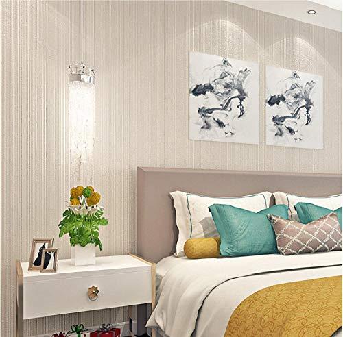 Papel de Pared 3D, raya Papel Pintado No Tejido Caqui Relieve, en Rollo, para Sala de Estar Habitación Cocina Comedor Fondo de TV 0.53m x 9.5m