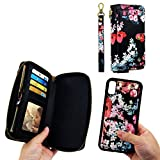 JAZ iPhone XS Wallet Case, iPhone X Wallet Case Zipper Purse Detachable Magnetic 14 Card Slots Money Pocket Clutch Leather Wallet Case Cover for iPhone X(2017) /iPhone XS(2018) 5.8 Inch - Black