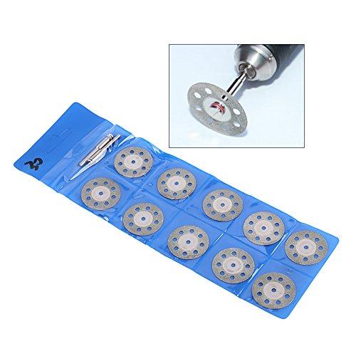 Dgtrhted 10 Uds herramienta rotativa 30mm 8 agujeros hojas de sierra circular de diamante discos de rueda de corte + 2 mandril