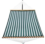 Patio Watcher 14 FT Quick Dry Hammock with Double Size Solid Wood Spreader Bar Outdoor Patio Yard Poolside Hammock with Chains, Waterproof and UV Resistance, 2 Person 450 Pound Capacity Green Stripes