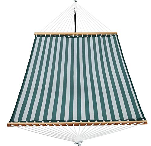 Patio Watcher 14 FT Quick Dry Hammock with Double Size Solid Wood Spreader Bar Outdoor Patio Yard...