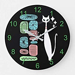 daoyiqi Wood Wall Clock Round Wall Clock Retro Atomic Era Mid Century Modern Cool Cat Large Clock Wall Decor