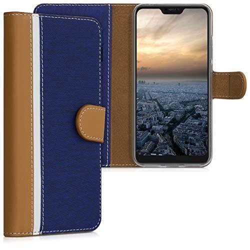 kwmobile Funda Compatible con Xiaomi Redmi 6 Pro/Mi A2 Lite - De Cuero sintético - Case con Tarjetero en Azul Oscuro/marrón/Blanco