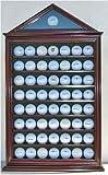 57 Golf Ball Display Case Shadow Box Wall Cabinet Holder Rack w/ 98% UV Protection (Mahogany)